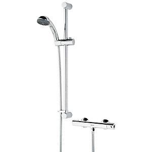 Bristan Zing Cool Touch Thermostatic Bar Mixer Shower & Adjustable Riser Kit Best Price, Cheapest Prices
