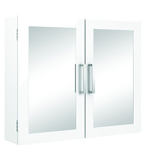 Wickes Double Bathroom Mirror Cabinet - White 600mm