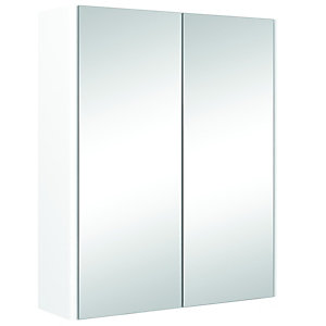 Wickes Semi-Frameless White Double Mirror Bathroom Cabinet - 500mm