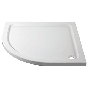 Wickes 800mm x 800mm - Quadrant Cast Stone Shower Tray - White