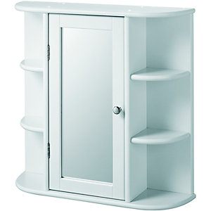 Wickes Single Mirror Bathroom Cabinet with 6 Shelves - White 580mm