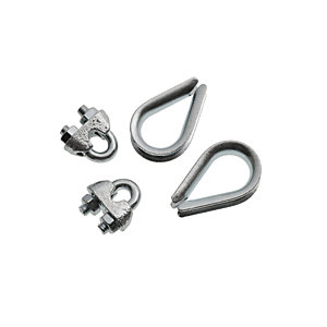 Wickes Bright Zinc Plated Thimble & Clamp Set 4mm Pack 4