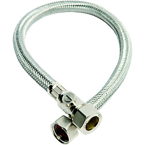 Wickes Flexible Compression Tap Connector With Isolating Valve - 15 x 12 x 500mm