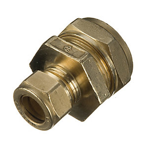 Wickes Brass Compression Reducer Coupling - 15 x 10mm Pack of 2