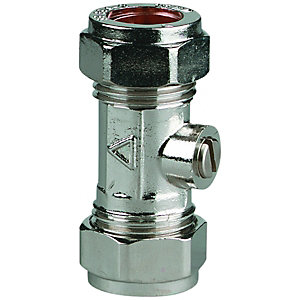 Wickes Chrome Plated Isolating Valve - 15mm Pack of 10