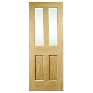 Wickes Cobham Glazed Oak Veneer 4 Panel Internal Door - 1981 x 762mm
