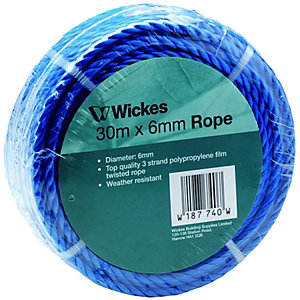 Wickes Blue Multi-Purpose Polypropylene Rope - 6mm x 30m