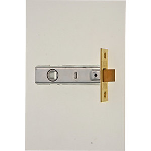 Wickes CE Bolt Through Tubular Door Latch - Brass 76mm