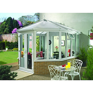 Wickes Victorian Dwarf Wall White Conservatory - 12 x 16 ft