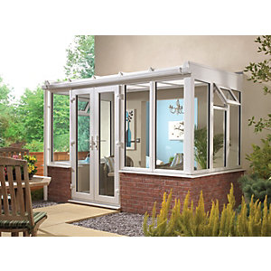 Wickes Lean To Dwarf Wall White Conservatory - 15 x 12 ft