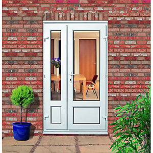 Wickes Upvc Double Glazed Panelled French Doors with Offset Slave Door - 1190 x 2040 mm