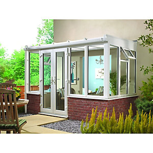 Wickes Lean To Dwarf Wall White Conservatory - 13 x 8 ft