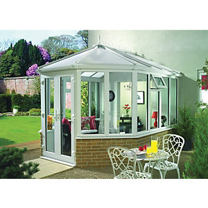 Wickes Victorian Dwarf Wall White Conservatory - 10 x 13 ft
