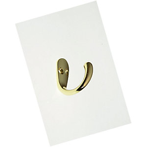 Wickes One Prong Hook - Brass Pack of 2