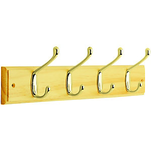 Wickes Light Duty Coat Hook Rail - Pine and Brass 450mm
