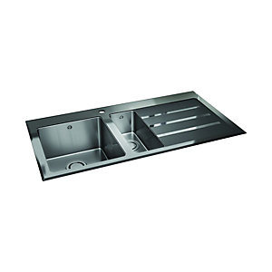 Wickes Rae 1.5 Bowl Right Hand Drainer Stainless Steel Kitchen Sink with Black Glass