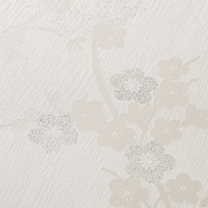 Superfresco Colour Cherry Blossom Decorative Wallpaper White - 10m
