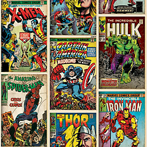 Marvel Action Heroes Comic Book Decorative Wallpaper - 10m