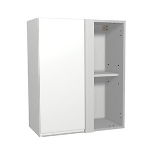 Wickes Madison White Gloss Handleless Corner Wall Unit - 600mm