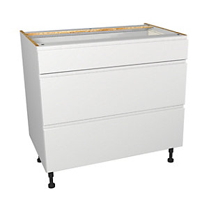 Wickes Madison White Gloss Handleless Drawer Unit - 900mm (Part 1 of 2)
