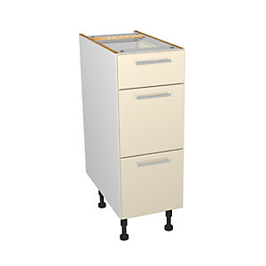 Wickes Orlando Cream Gloss Slab Drawer Unit - 300mm