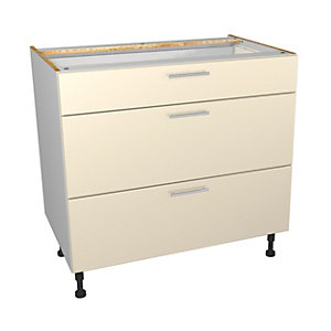 Wickes Orlando Cream Gloss Slab Drawer Unit - 900mm (Part 1 of 2)