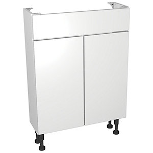 Wickes Vienna White Gloss Compact Floorstanding Vanity Unit - 600 x 735mm