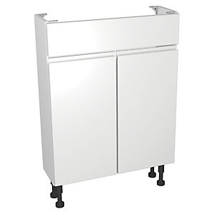 Wickes Hertford White Gloss Compact Floorstanding Vanity Unit - 600 x 204mm