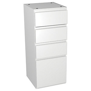 Wickes Hertford White Gloss Multi-drawer Floorstanding Storage Unit - 300 x 735mm
