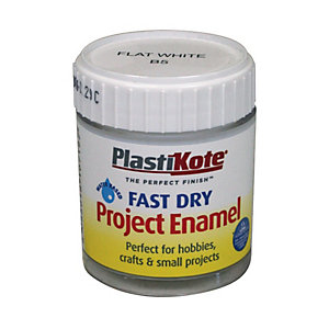 PlastiKote Fast Dry Brush On Enamel - Flat White 59ml