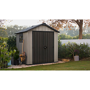 Keter Oakland 7 x 7ft Double Door Outdoor Apex Plastic Garden Shed