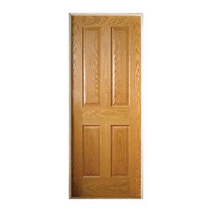 Wickes Cobham Oak 4 Panel Pre Finished Internal Door - 1981 x 686mm