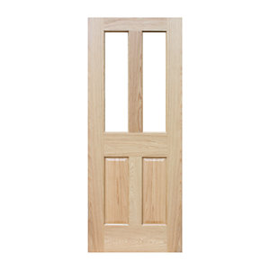 Wickes Cobham Glazed Oak 4 Panel Pre Finished Internal Door - 1981mm x 762mm