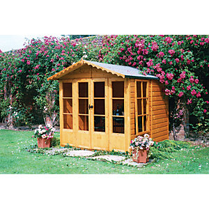 Shire Kensington Double Door Summer House with Opening Side Windows - 7 x 7 ft