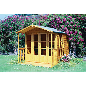 Shire Kensington Double Door Summer House with Veranda - 7 x 9 ft