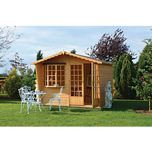 Shire Sandringham Double Door Summer House with Bay Window - 10 x 10 ft