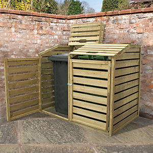 Forest Garden 5 x 3 ft Timber Double Wheelie Bin Storage