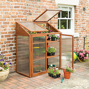 Rowlinson 4 x 2ft Small Brown Wooden Mini Greenhouse with Poycarbonate Panels & Lifting Lid