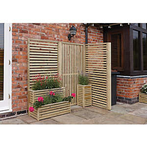 Rowlinson Horizontal Timber Slat Screen - Pack of 2