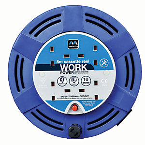 Masterplug 4 Socket Medium Cassette Reel - Blue 8m 10A