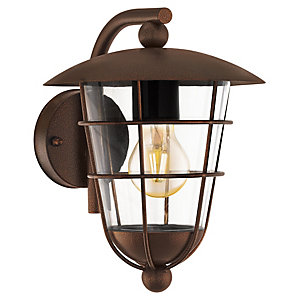 Eglo Pulfero 1 Brown Outdoor Traditional Up Lantern Wall Light - 60W E27