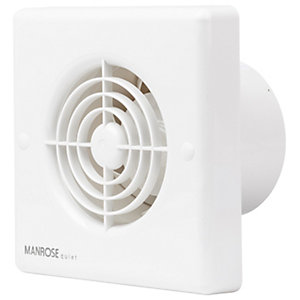 Manrose Quiet Bathroom Extractor Fan - White 100mm