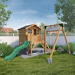 Mercia 12 x 13 ft Poppy Raised Timber Playhouse with Swing & Slide