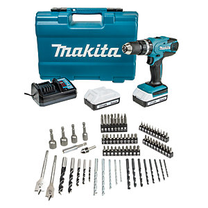 Makita HP457DWE10 18V 2 x 1.5Ah Li-Ion Cordless G-Series Combi Drill & 74 Piece Accessory Set