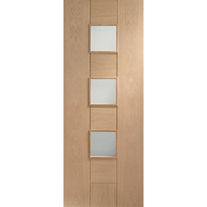 XL Joinery Messina Clear Glazed Oak 8 Panel Pre Finished Internal Door - 1981mm x 762mm