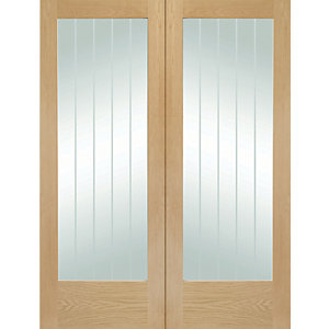 XL Suffolk Internal Oak Veneer Door Pair with Clear Etched Glaze 1981 x 762mm