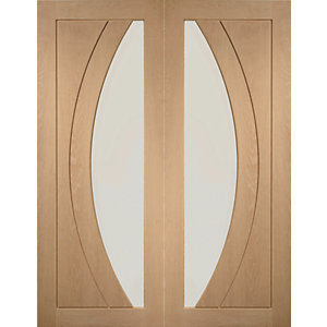 XL Joinery Salerno Glazed Oak Patterned Internal Door Pair - 1981mm x 584mm