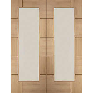 XL Joinery Ravenna Fully Glazed Oak 10 Panel Door Pair - 1981mm x 584mm