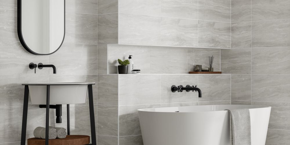Wickes Callika Mist Grey Porcelain Wall & Floor Tile - 600 x 300mm