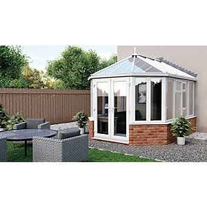 Euramax Victorian Glass Roof Dwarf Wall Conservatory - 10 x 11 ft